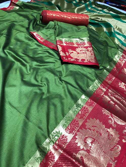 green-color-beautiful-weaving-cotton-silk-saree-dvz00008