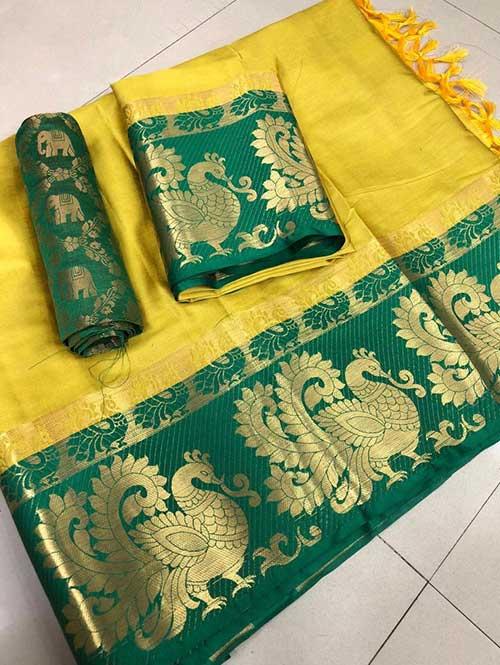 yellow-color-beautiful-weaving-cotton-silk-saree-dancing-duck-dvz00013