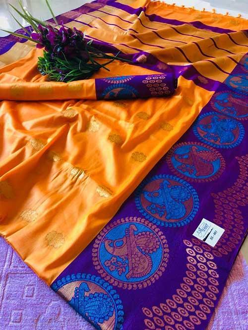 yellow-color-beautiful-weaving-cotton-silk-saree-ss003 Silk Saree