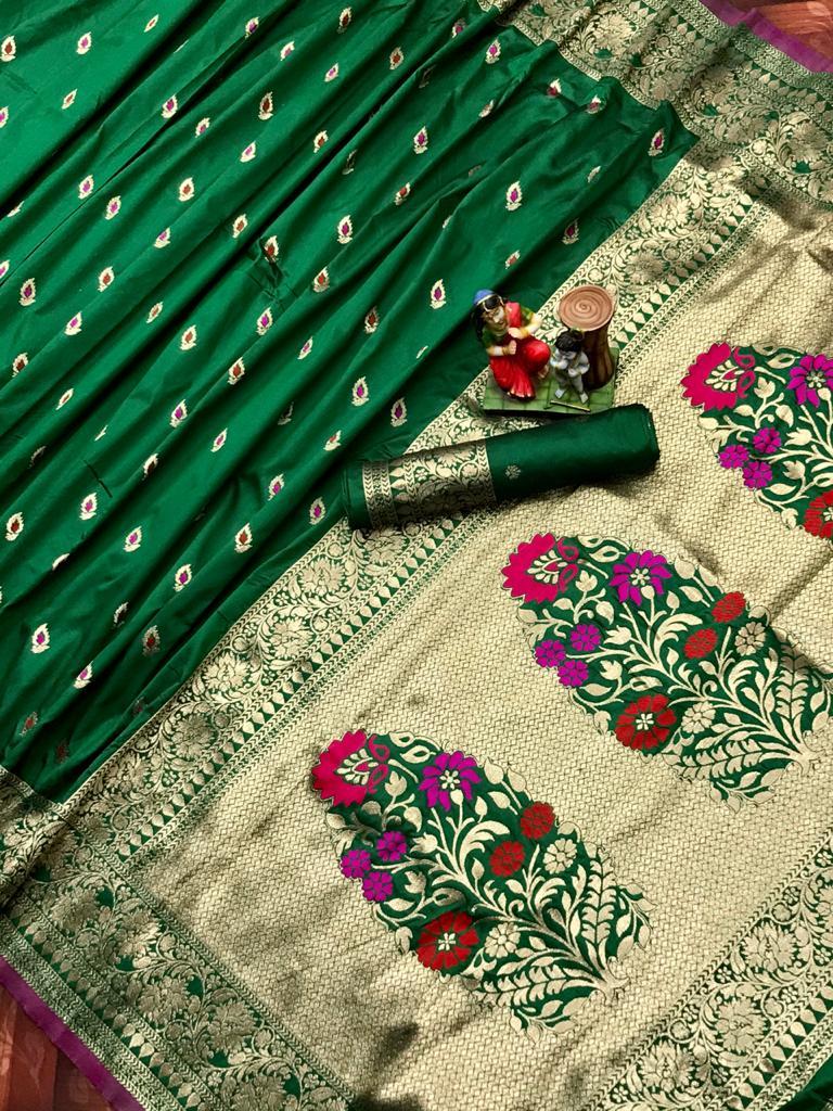 Adorable Green soft banarasi lichi silk saree dvz0002025