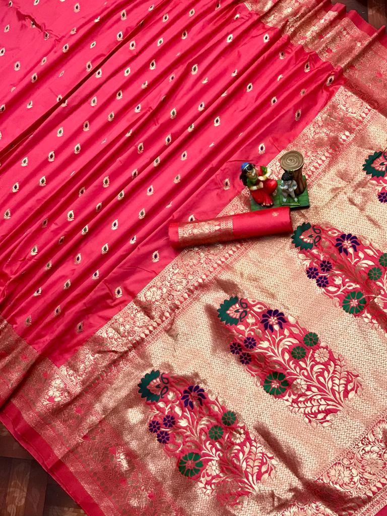 Adorable Pink soft banarasi lichi silk saree dvz0002026