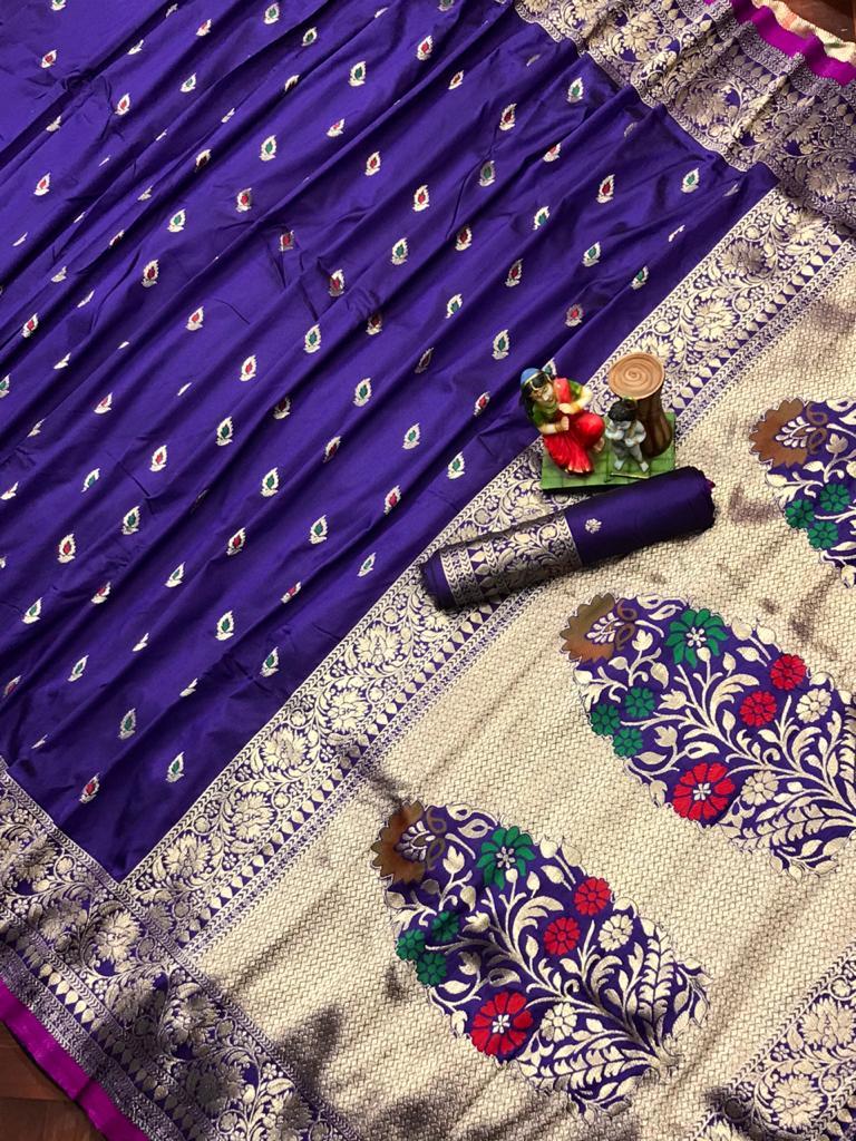 Adorable Purple soft banarasi lichi silk saree dvz0002022