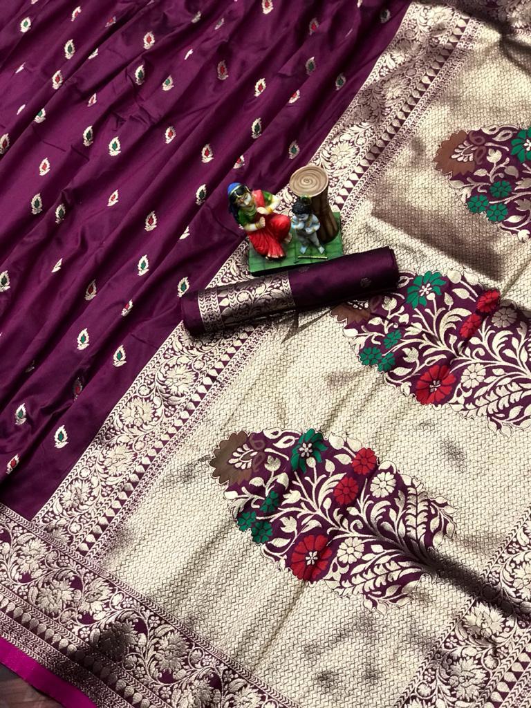 Adorable Purple soft banarasi lichi silk saree dvz0002023