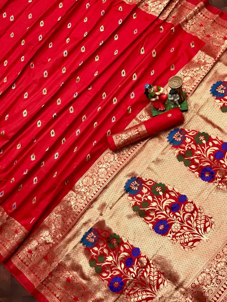 Adorable Red soft banarasi lichi silk saree dvz0002027
