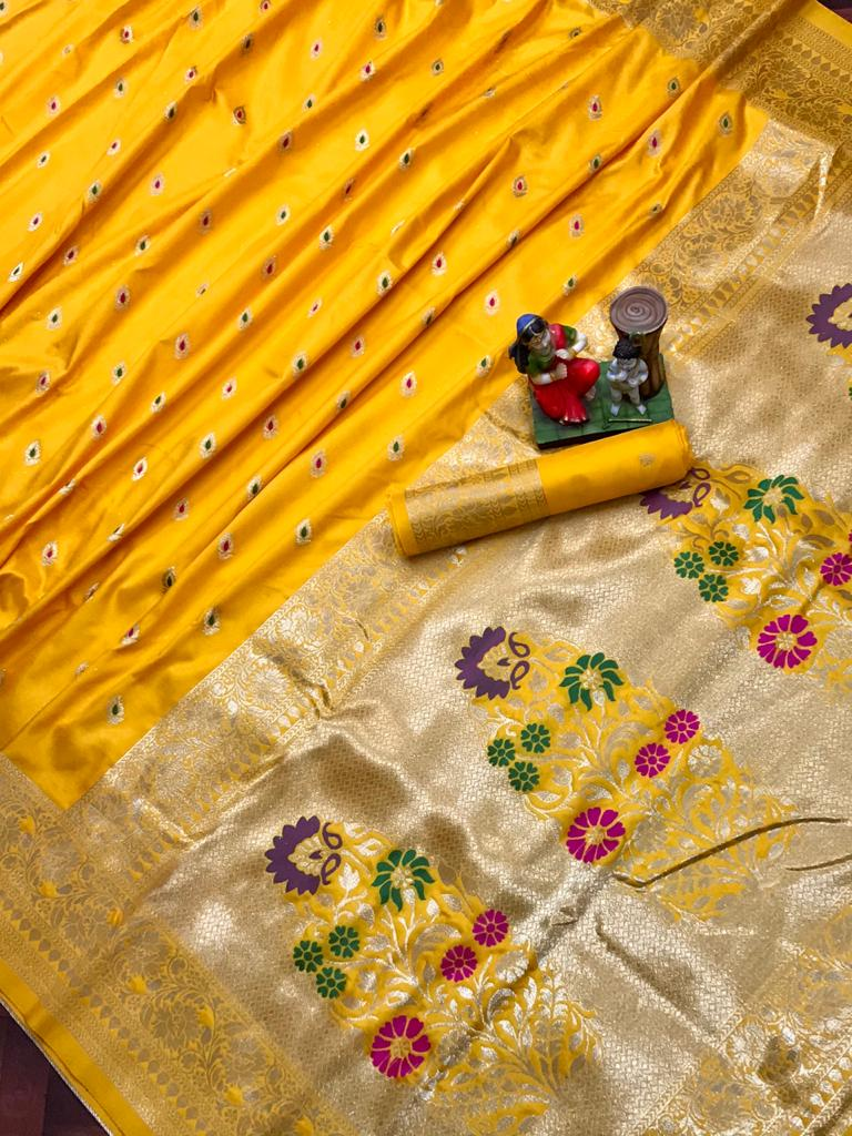 Adorable Yellow soft banarasi lichi silk saree dvz0002028