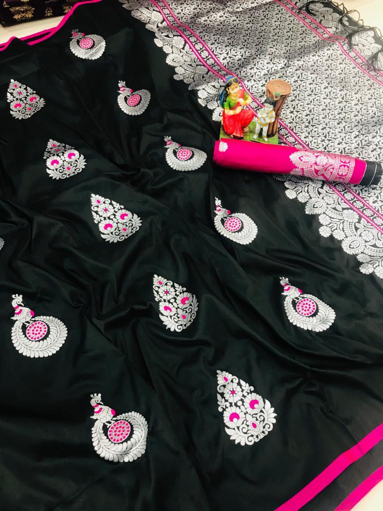 Attractive Black lichi silk Weaving saree dvz0002036