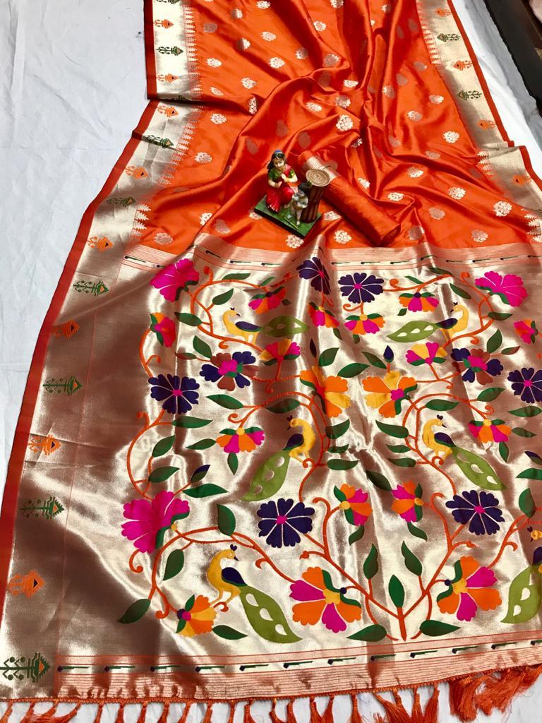 Attractive Gorgeous Orange Kanchipuram silk saree dvz0002056