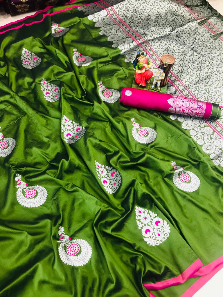 Attractive Green lichi silk Weaving saree dvz0002038