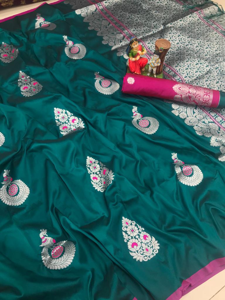 Attractive Green lichi silk Weaving saree dvz0002039