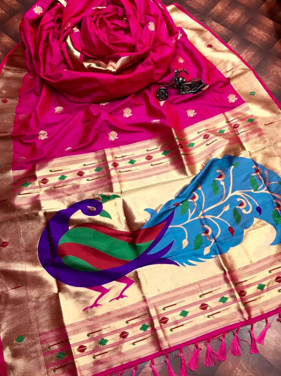 Attractive Kanchipuram Traditional saree in Pink dvz0002601