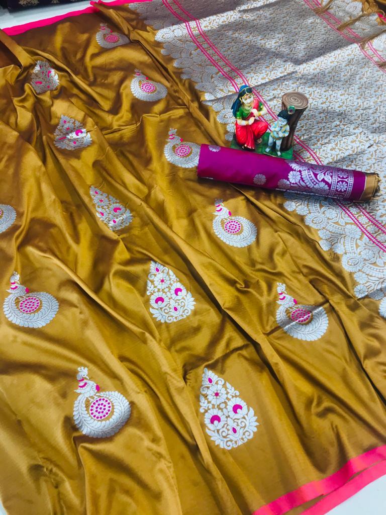 Attractive mustard lichi silk Weaving saree dvz0002041