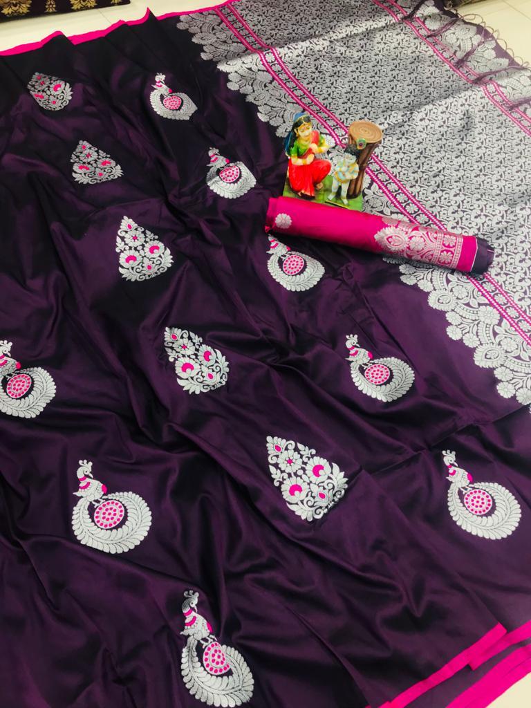 Attractive purple lichi silk Weaving saree dvz0002042