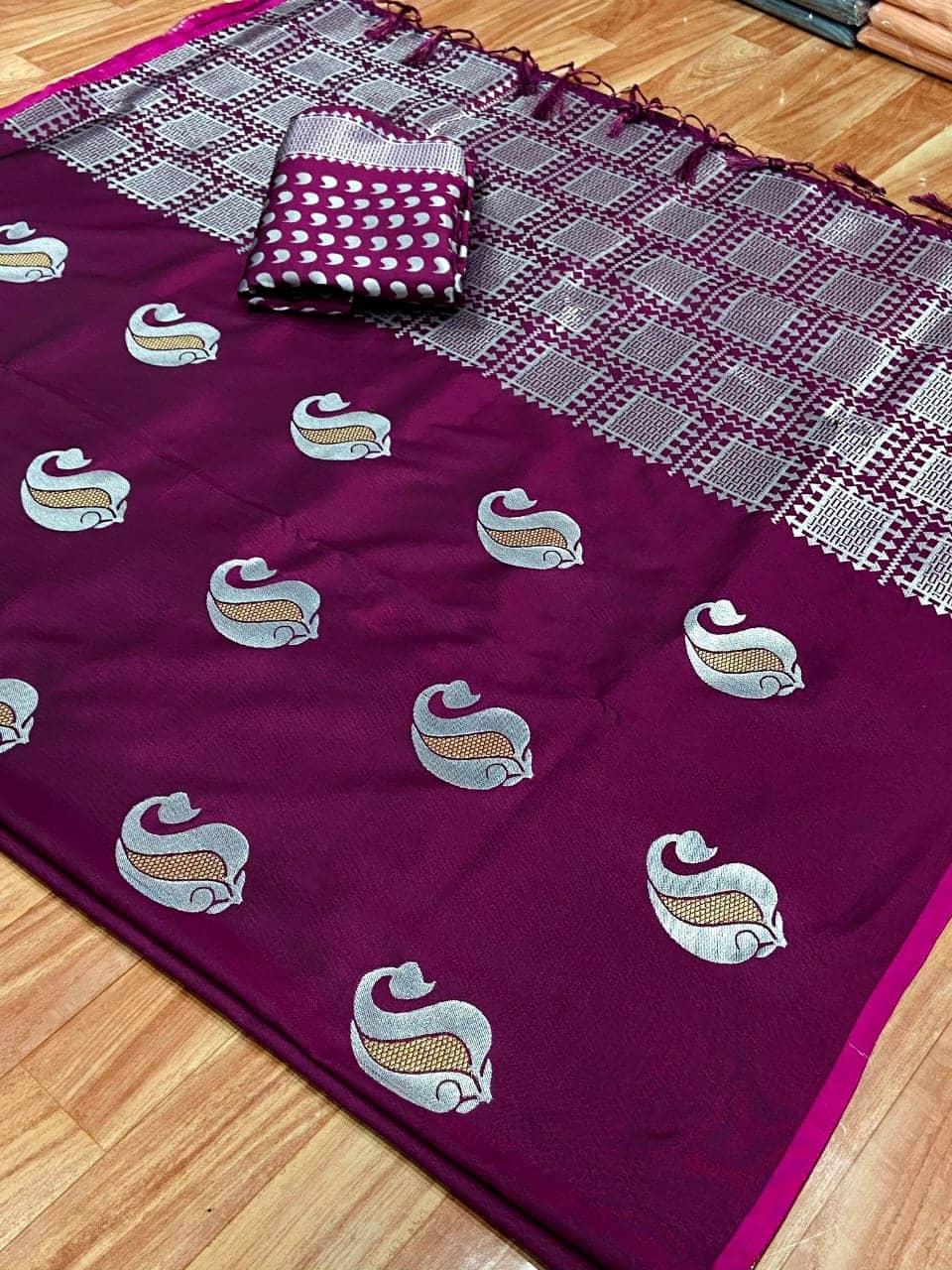 Banarasi silk weaving jacquard saree in Magenta dvz0001552