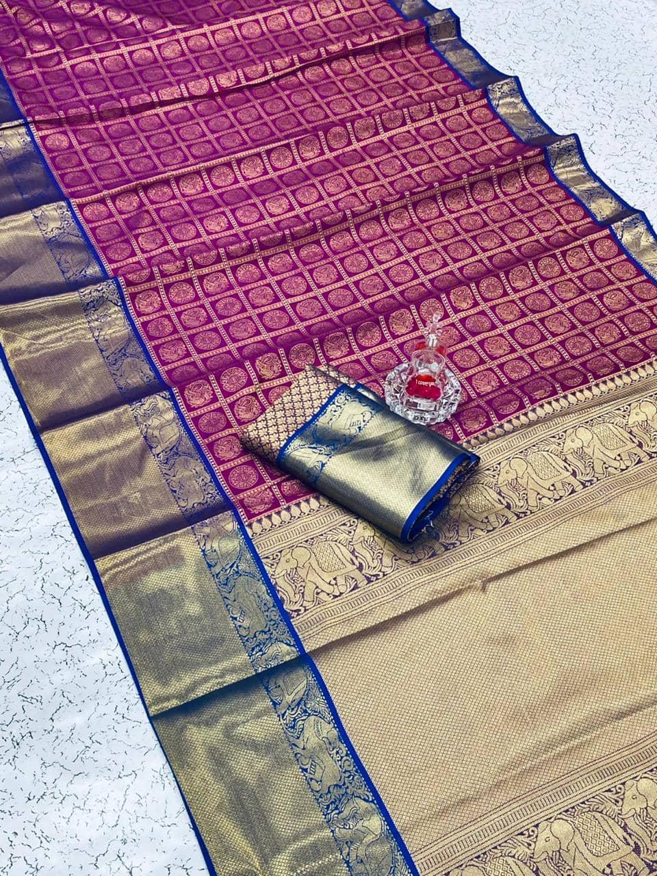 Banarasi weaving Silk Saree with Kanchipuram pattern saree (Purple) dvz0001560