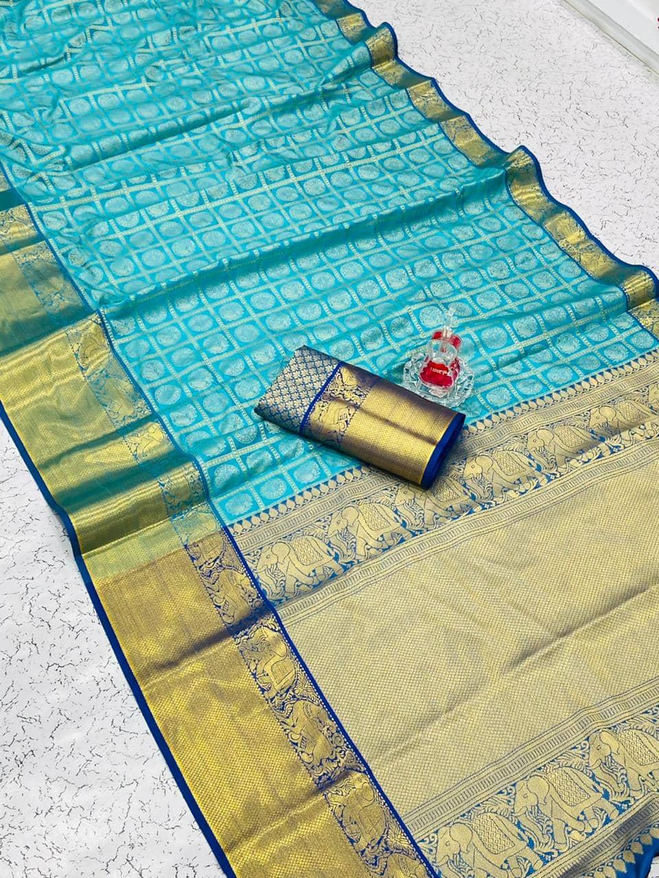 Banarasi weaving Silk Saree with Kanchipuram pattern saree (Sky Blue) dvz0001559