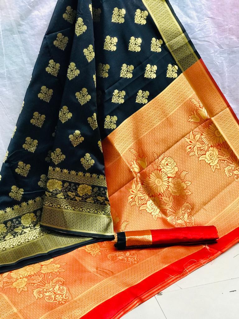 Beautiful Black Art Silk saree dvz0002523