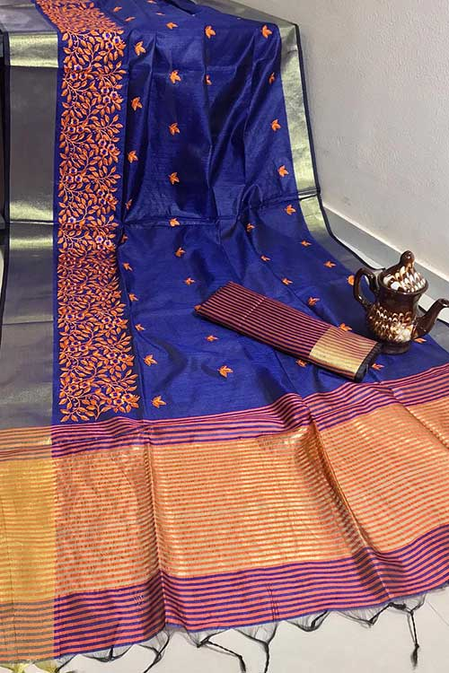 Beautiful Crystal Silk Embroidered Zari woven Border Saree in Blue dvz0001224