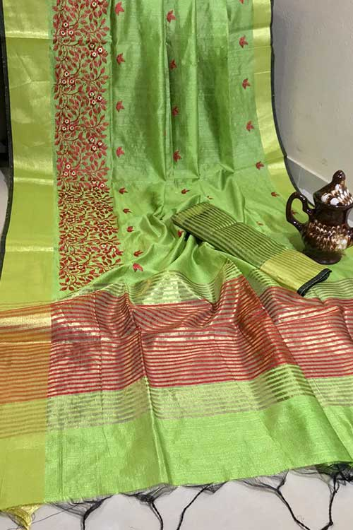 Beautiful Crystal Silk Embroidered Zari woven Border Saree in Green dvz0001225