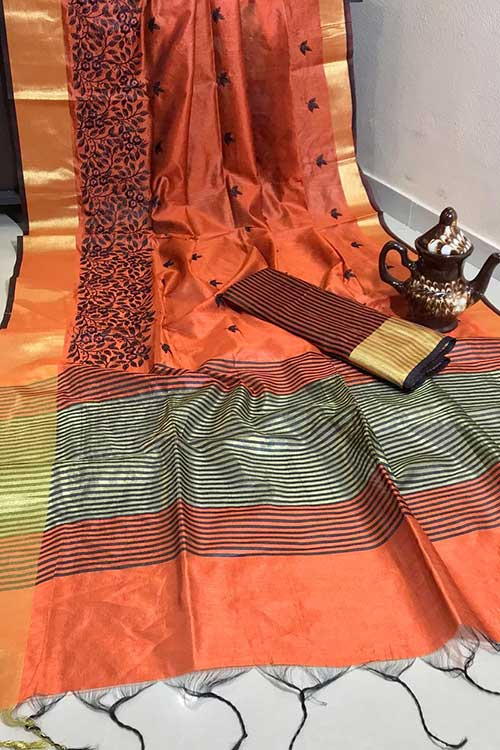 Beautiful Crystal Silk Embroidered Zari woven Border Saree in Orange dvz0001227