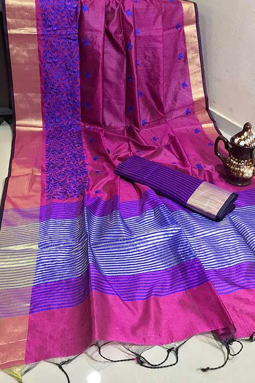 Beautiful Crystal Silk Embroidered Zari woven Border Saree in Purple dvz0001229
