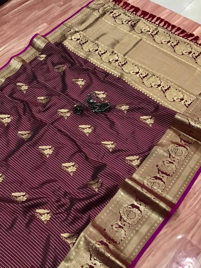 Beautiful Jacquard silk saree in vibrant Brown color dvz0001783