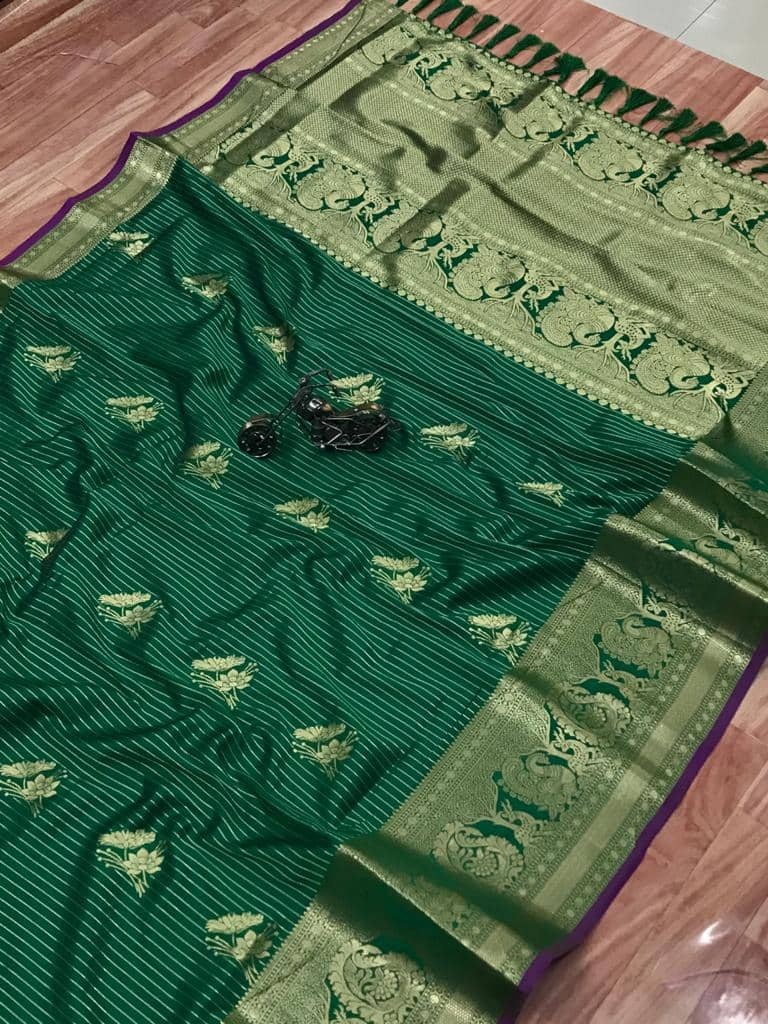 Beautiful Jacquard silk saree in vibrant Green color dvz0001780