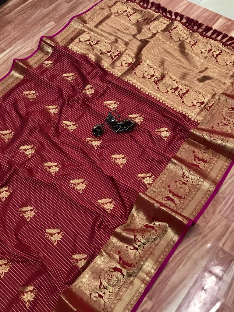 Beautiful Jacquard silk saree in vibrant Maroon color dvz0001784