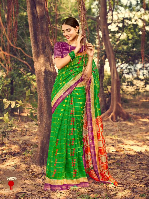 Beautiful Printed Linen check pattern saree dvz0002573