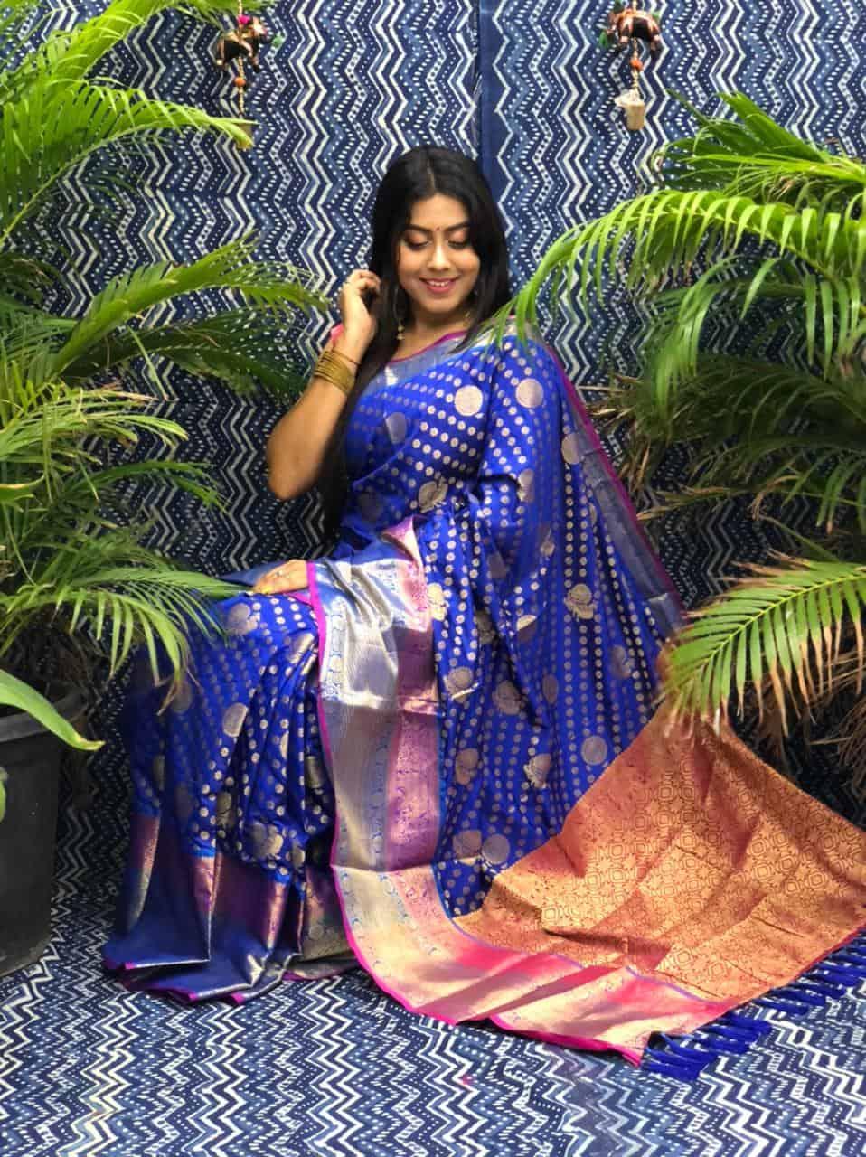 Best Kanchipuram Silk Traditional saree in Blue dvz0002635