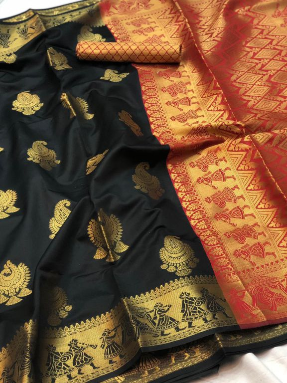 Black Banarasi silk Weaving zari work saree dvz000014