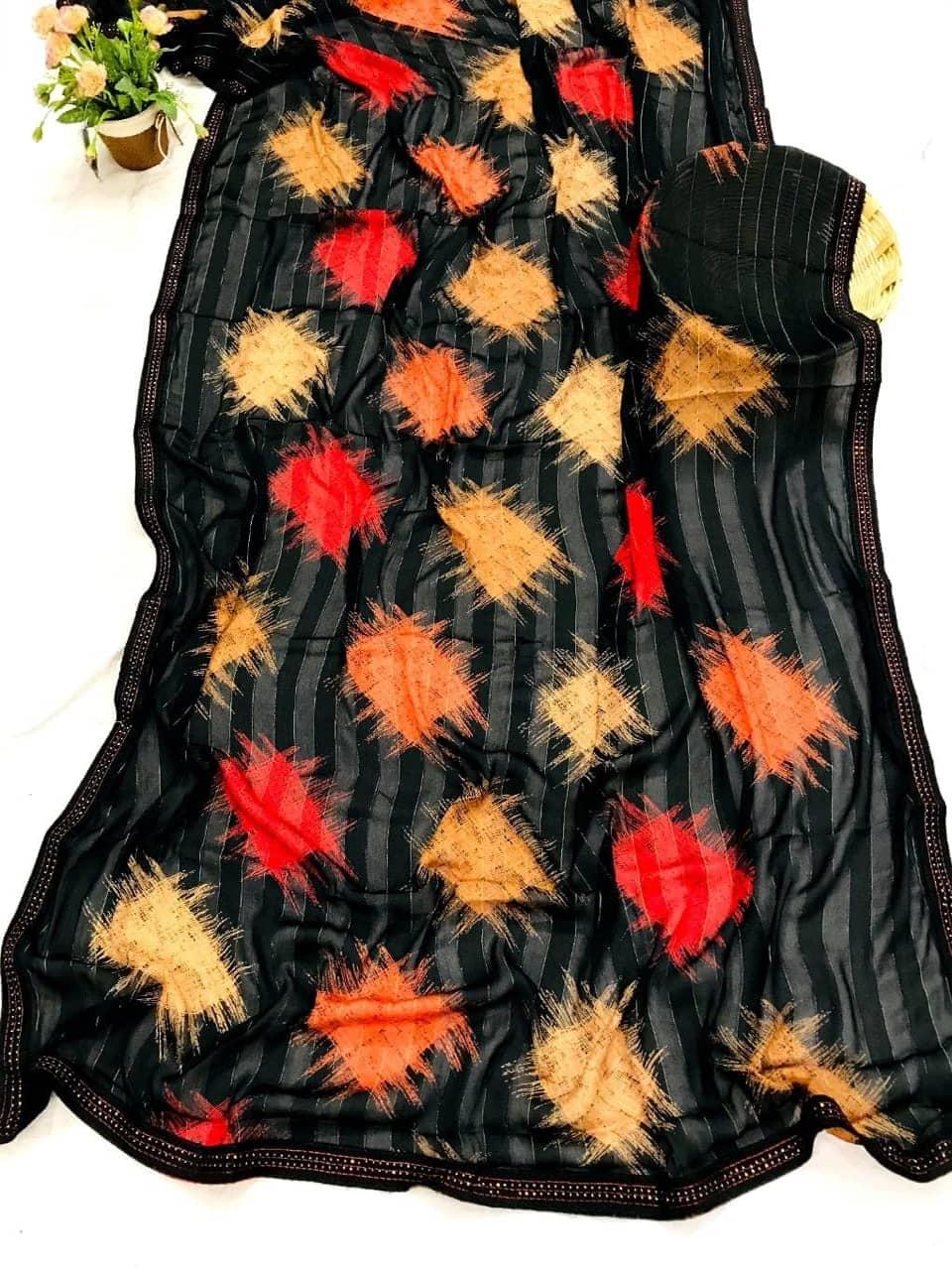 Black Chiffon Rembo jari box Digital Print Saree dvz0002615