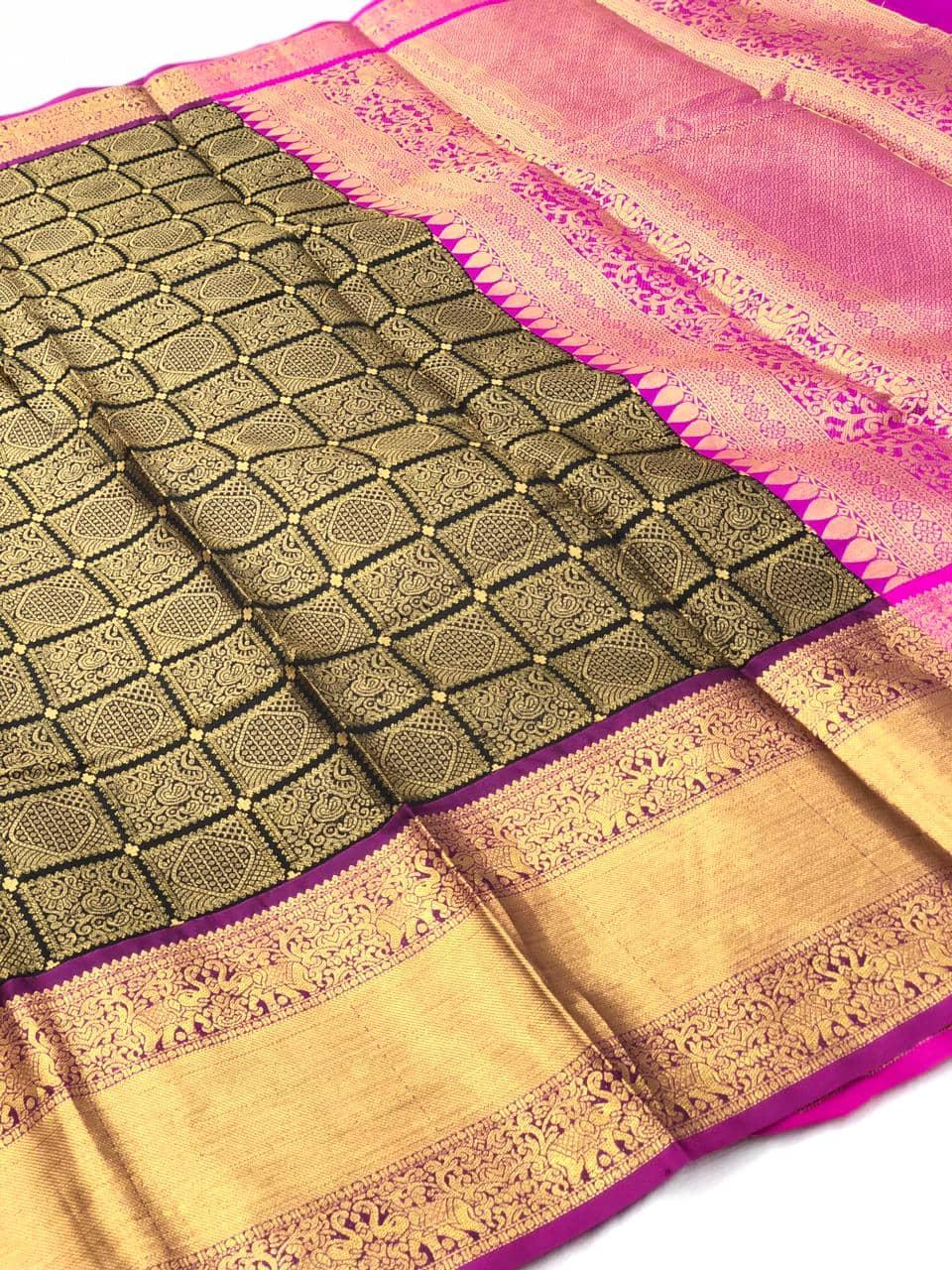 Black Kanchipuram silk saree online india dvz0001972