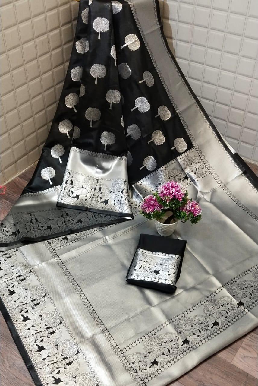 Black Lichi silk Party wear saree dvz0001218 - Silk sarees Online