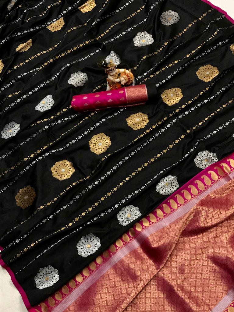 Black Soft Banarasi Lichi Silk Saree dvz0002200