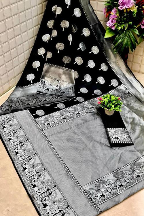 Black Soft silk woven saree online dvz0001309 - silk woven sarees online