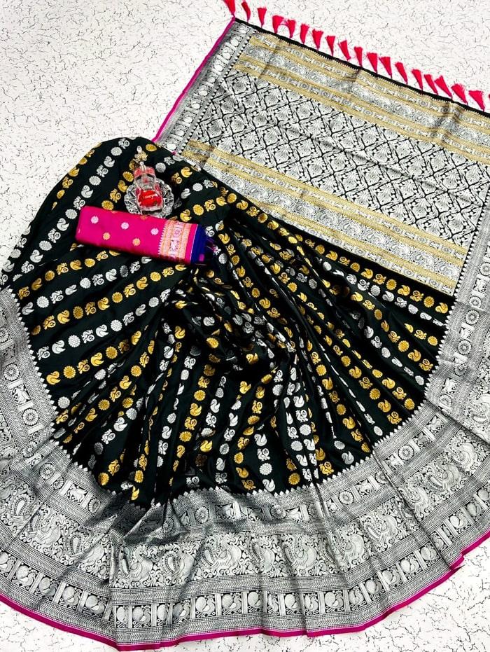 Black banarasi silk saree with weaving zari design dvz0002149