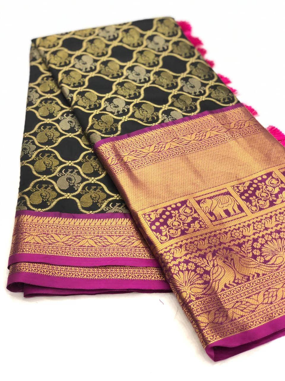 Black kanjeevaram silk sarees online shopping dvz0001986