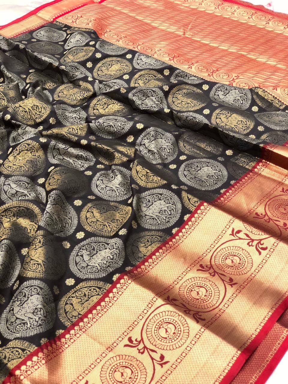 Black kanjeevaram silk sarees online shopping dvz0002104