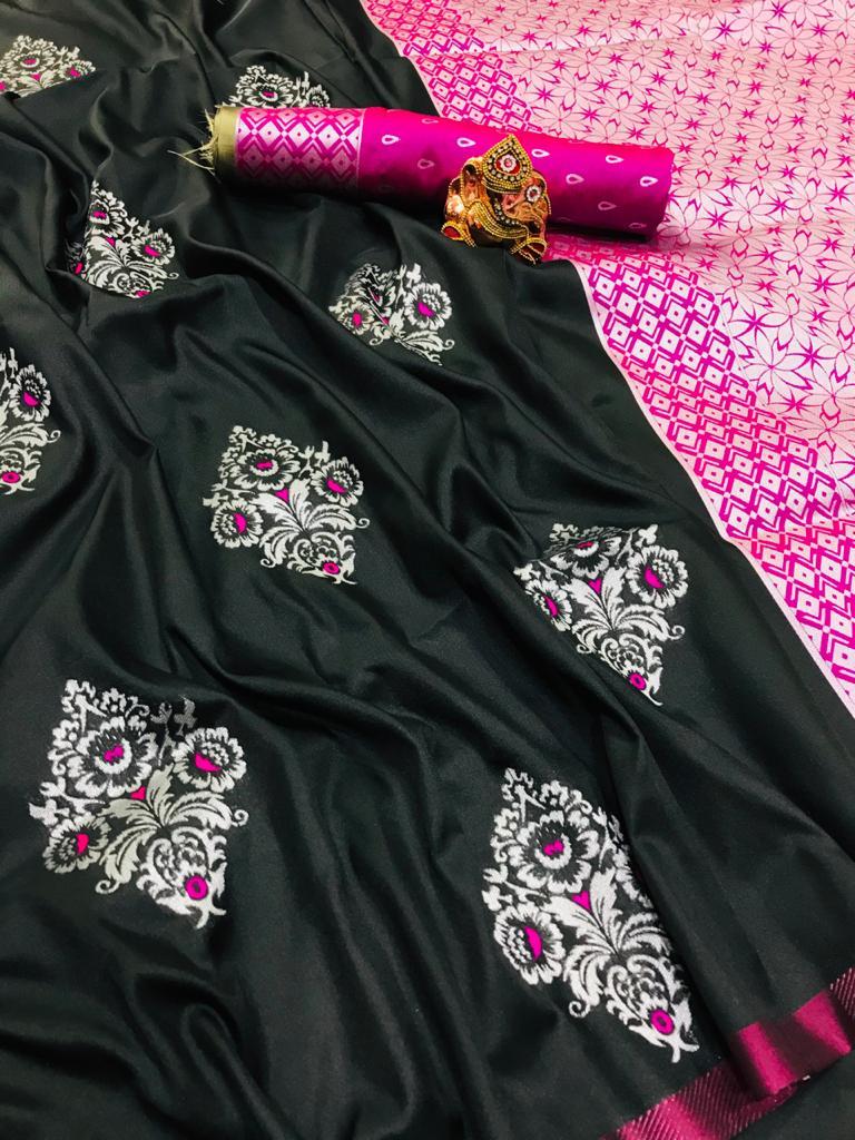 Black lichi silk zari weaving work saree Design dvz0001681