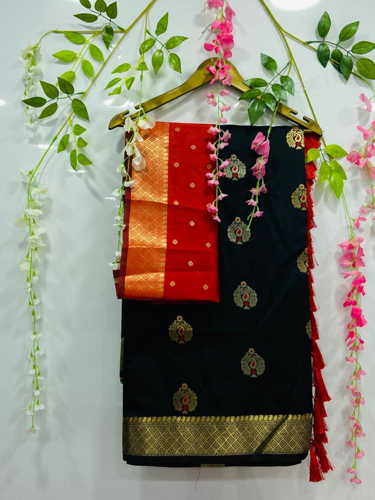 Black silk cotton sarees online shopping dvz0002076