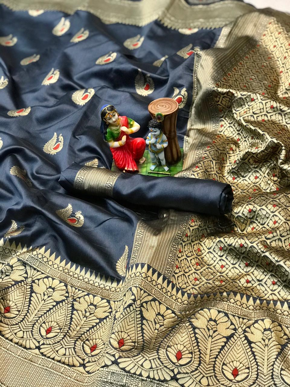 Black soft banarasi silk saree with weaving saree dvz0002001