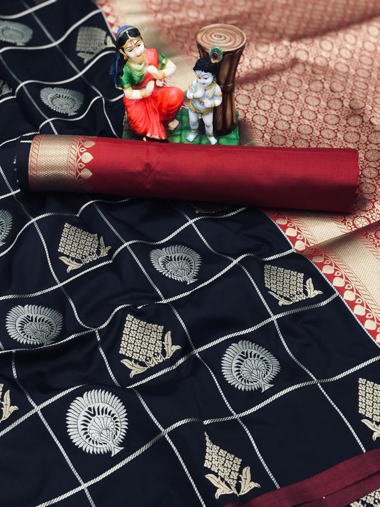 Black soft silk with gold and silver zari weaving saree dvz0002030