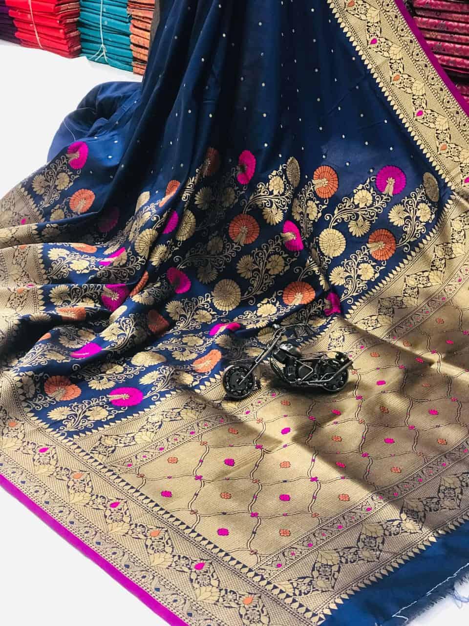 Blue Banarasi Soft Litchi Silk Saree dvz0002221