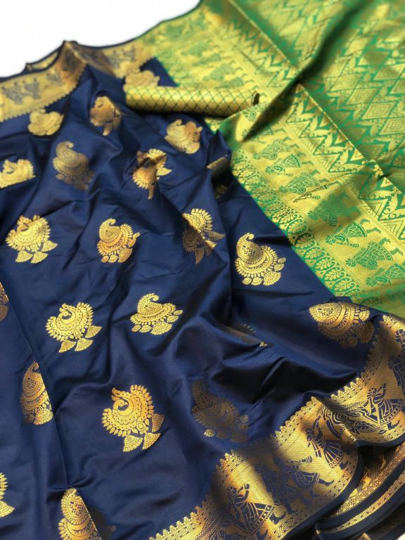 Blue Banarasi silk Weaving zari work saree dvz000013