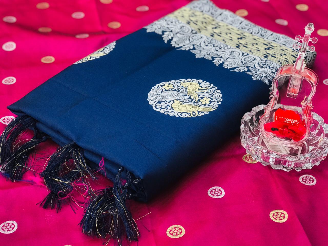 Blue Banarasi silk weaving jacquard sareedvz0001231