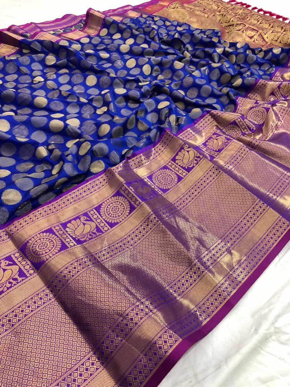 Blue Kanchipuram Silk Saree Online dvz0001430 - DVANZA