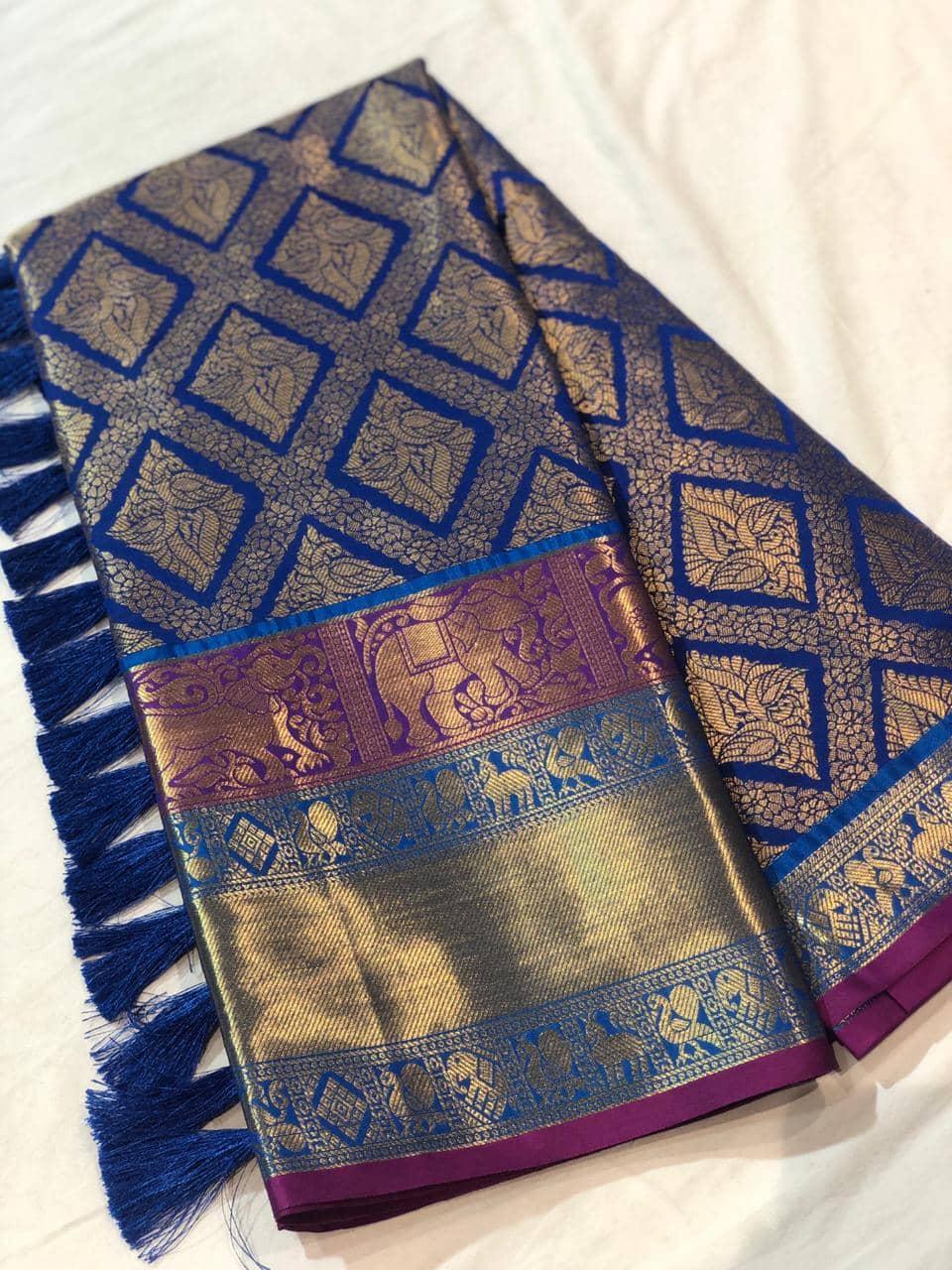 Blue Kanchipuram Silk saree dvz0001618