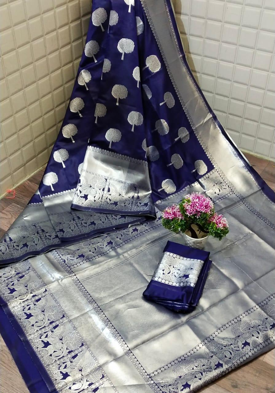 Blue Lichi silk Party wear saree dvz0001219 - Silk sarees Online