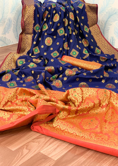 Blue Lichi silk saree Online india dvz0001042