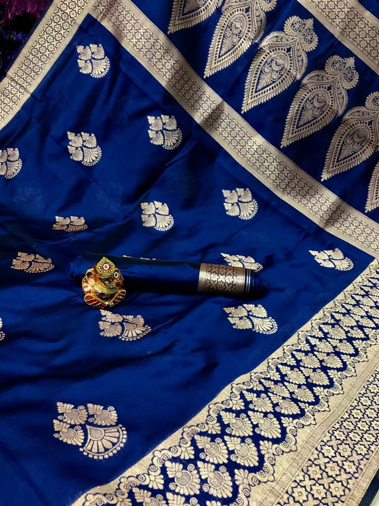 Blue Soft Banarasi Cotton Silk Saree dvz0002428